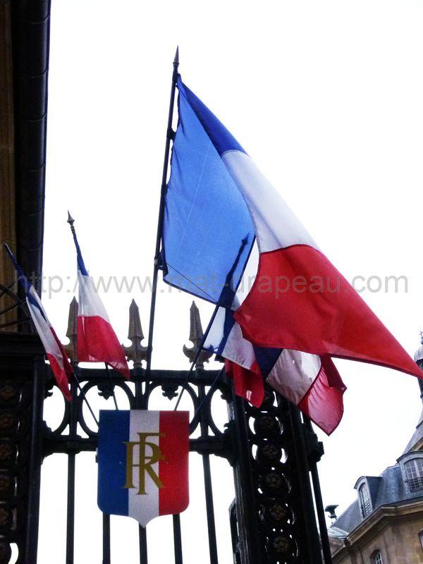 drapeau France : drapeaux monté sur écusson
