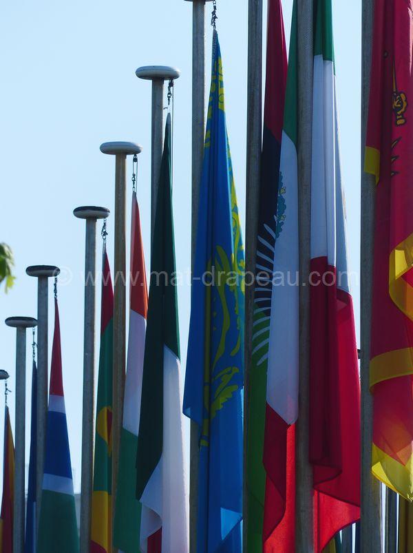 les drapeaux du monde - allée de pavillons internationaux