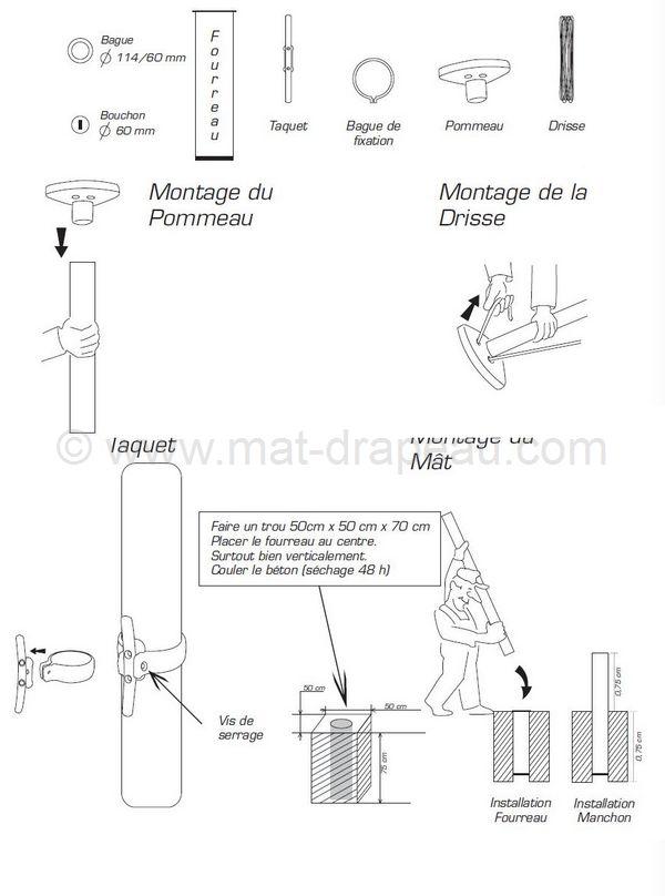 Mât Aluminium Cylindrique Première Et Deuxième Parties - Mat porte drapeau