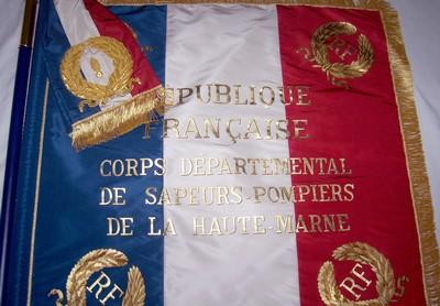 drapeau sapeur pompier - drapeau peint vue des motifs