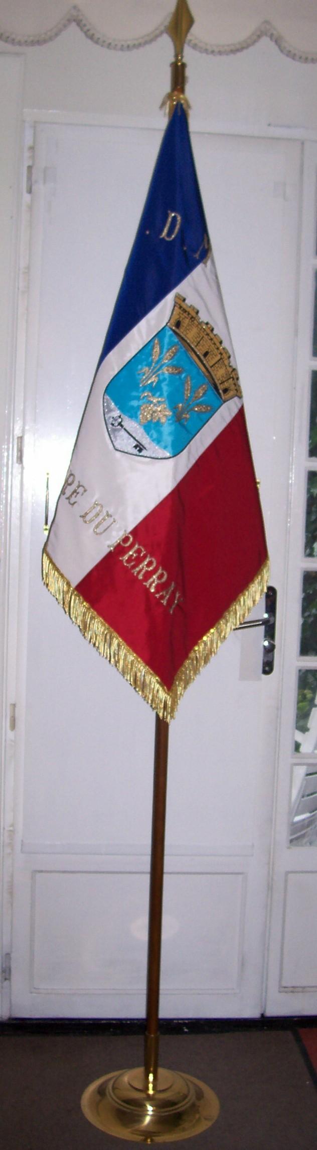 Un drapeau sur socle pour intérieur
