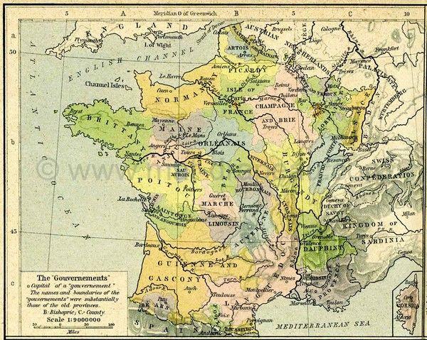 drapeau des provinces : carte 1789 des provinces de France (en Anglais)