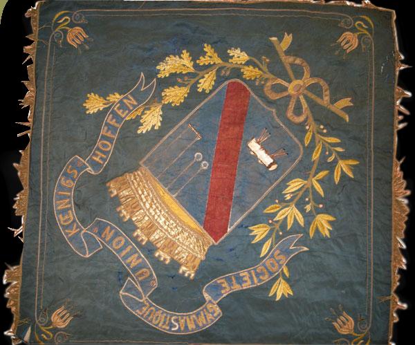 broderie drapeau - pavillon broderie: avant la rénovation face bleue