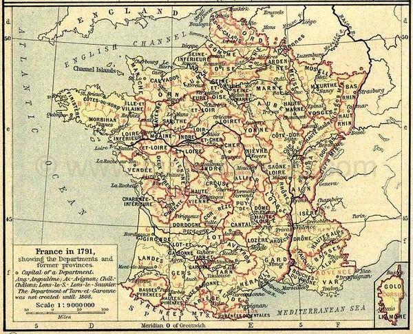 drapeau des provinces - carte anglaise des départements de France