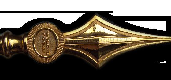 Broderie : lance en bronze doré