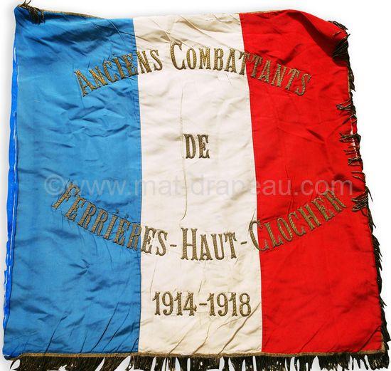 drapeau anciens combattants - drapeau Anciens Combattant 1914-1918 Ferrières-Haut-Clocher ( broderie main au fil d'or)