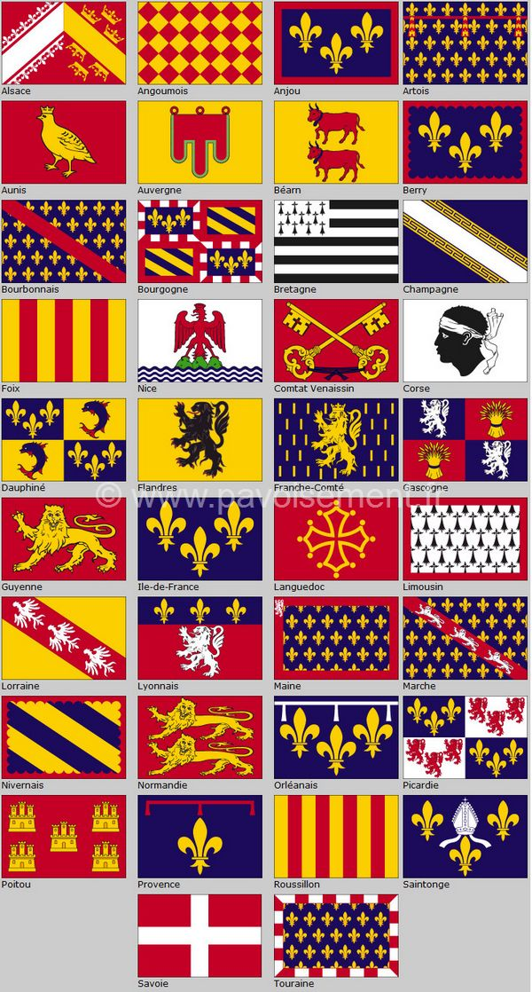 drapeau des provinces - tableau des différents drapeaux des provinces de France