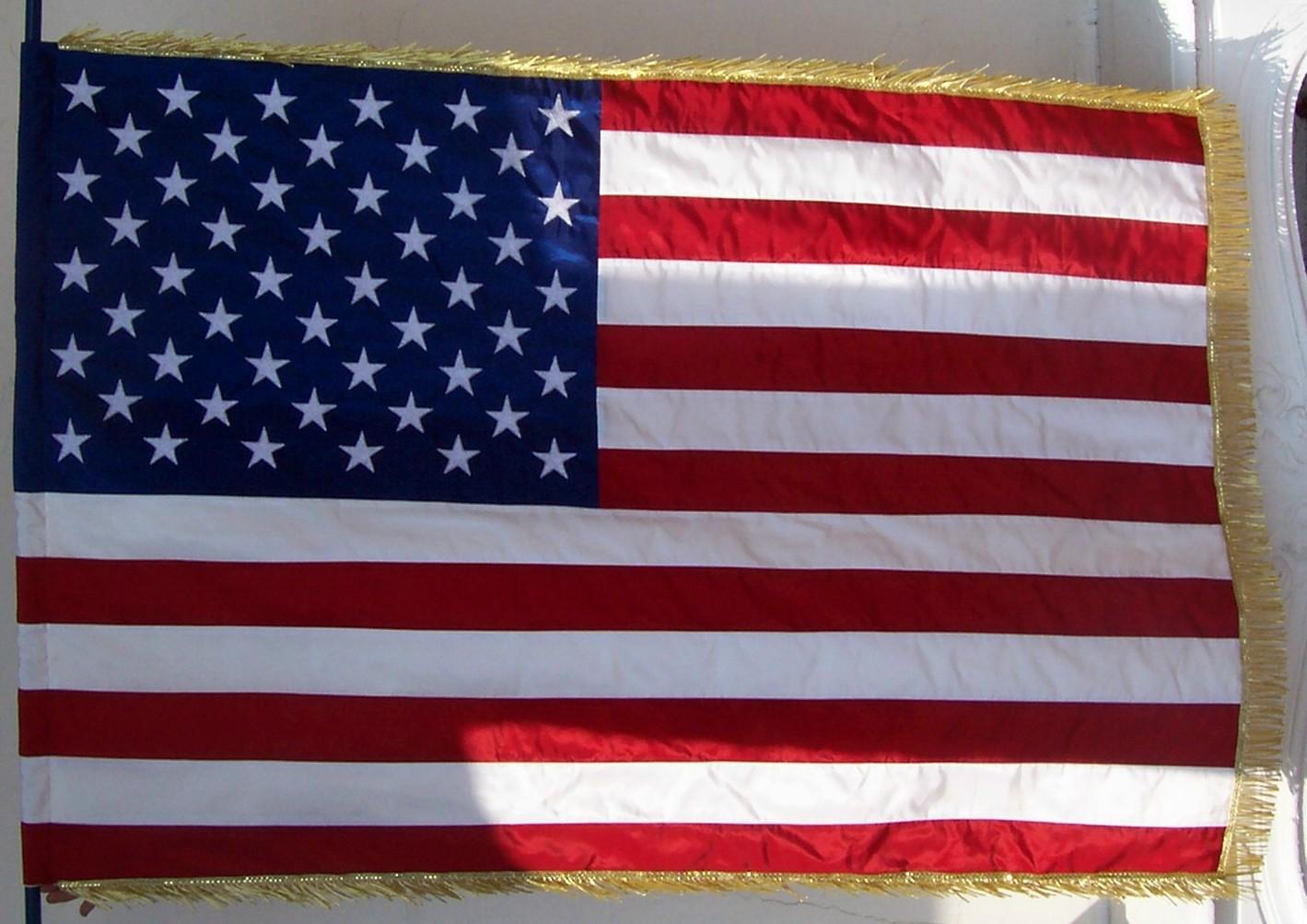 Pavillon des USA en taffetas brodé